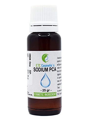 PCA de sodio - 25 ml - utilizado en muchos productos cosméticos para el cuidado de la piel o el cabello, como cremas, lociones, champús, acondicionadores, lacas para el cabello, acondicionadores