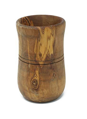 Benera, bel vaso in legno d'ulivo, 15 x 10 cm, per utensili da cucina, fiori secchi