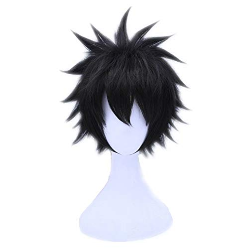 Kadiya Short Black Fluffy Spiky Teens Boy Video Games Anime Convention Fans Role Play Cosplay Wigs(Not Styled)