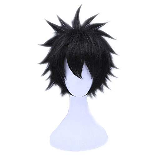 Kadiya Short Black Fluffy Spiky Teens Boy Video Games Anime Convention Fans Role Play Cosplay Wigs