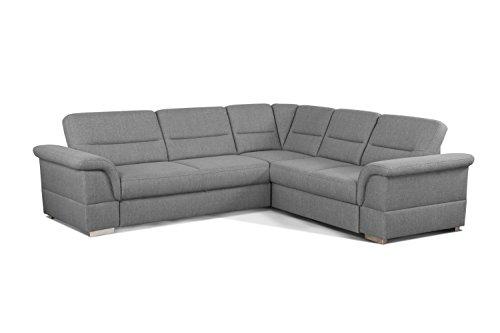 Cavadore Eck-Sofa Tuluza mit Bett / Moderne Eck-Couch mit Schlaffunktion und Stauraum / Größe: 262 x 87 x 233 cm (BxHxT) / Strukturstoff in hellgrau