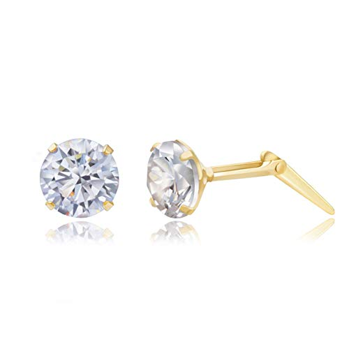 9ct yellow gold 5mm round white crystal Andralok stud earrings/Gift box