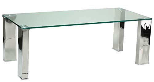 Cortesi Home Isaak Contemporary Glass Coffee Table with Chrome Finish, CH-CT646004