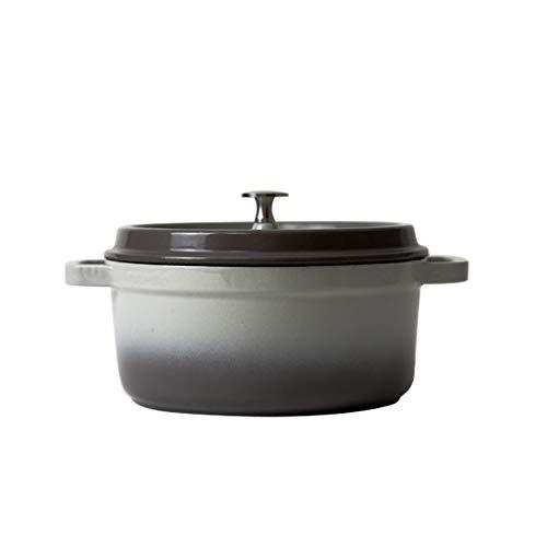 WEIFAN-Kitchen Pot Runder Suppentopf Gesundheit Eintopf Eintopf 焖 锅 珐 琅 Gusseisen/Grau / 3.8L (Empfohlen für 3-5 Personen)