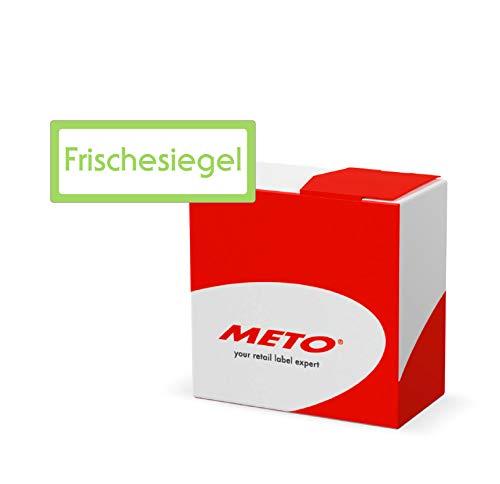 Meto Original Siegeletiketten Kit - Frischesiegel - in praktischer Spenderbox (60 x 24 mm, Grün, Permanent, 750 Etiketten auf Rolle, Klebesiegel 30001983)