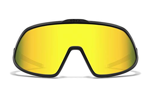 ROKA Matador Sports Sunglasses - Advanced Performance Eyewear for Cycling, Skiing, Volleyball, and Baseball - Matte Black Frame - Gold Mirror