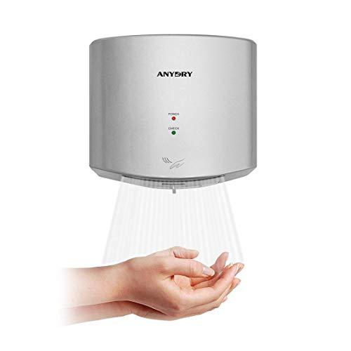 anydry AD2630S Kompakter automatischer Hochgeschwindigkeits-Händetrockner Gewerbe und Haushalt,ABS-Kunststoff,1400W,Silber