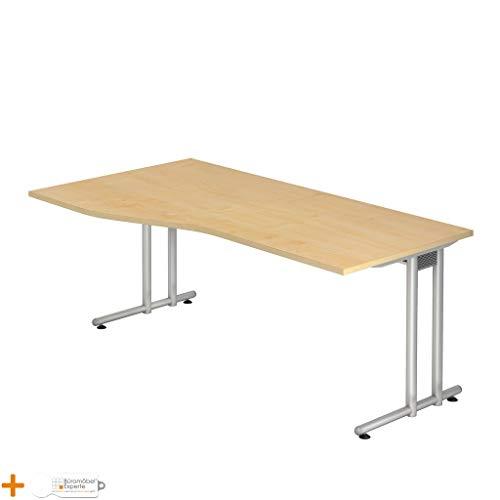 Schreibtisch Bürotisch Computertisch N 180 x 100 cm Freiform Ahorn Silber