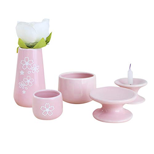 ペット仏具セット 5点 日本製 かわいい 刻印入り オリジナル 陶器 パステルカラー 国産 香炉灰付 ミニ仏具 (ピンク, 桜)