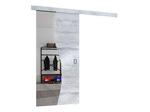 Mirjan24 Schiebetürsystem Fala mit Frontspiegel Komplett-Set für Schiebetüren Trennwände Innentüren Universelle Tür (Gebleichte Kiefer/Gebleichte Kiefer + Spiegel, Modell 90)