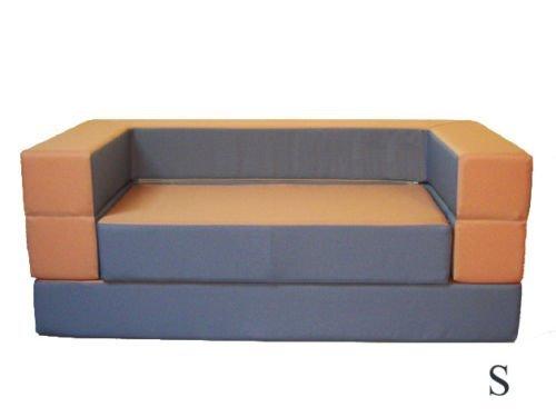 Kindersofa mit Bettfunktion 4in1 * Matratze Spieltisch Puzzle Sofa für Kinder Spielsofa Kinderzimmer Grau Orange Spielzimmer (Grau+Orange)
