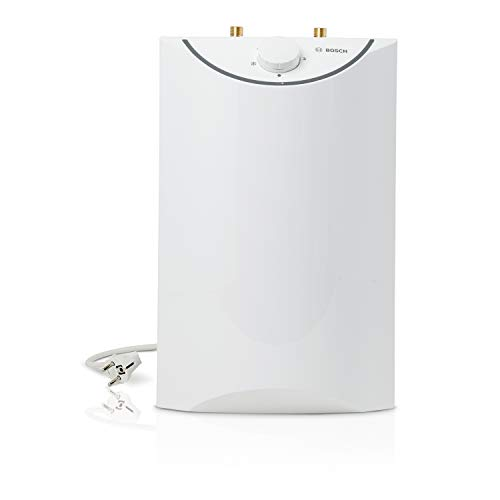 Bosch elektrischer Kleinspeicher Tronic Store Advanced, drucklos, steckerfertiger Untertischspeicher mit Tropfstopp, Druckstopp und Kindersicherung, Energieklasse A, 5 Liter, weiß-grau