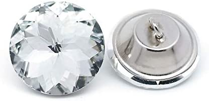 Best Wholesale 25PCS 25MM Bling Rhinestone Crystal Upholstery Buttons White Glass Diamond Shank Buttons B