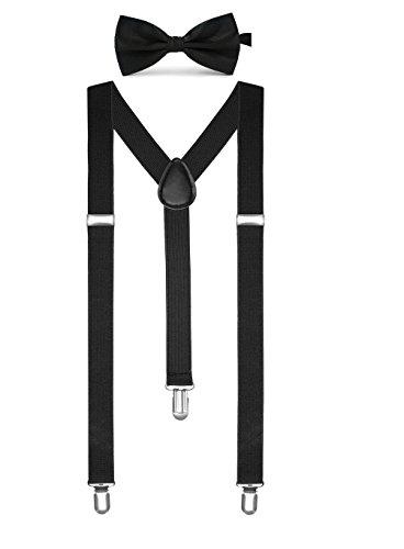 Boolavard Einfarbig Herren Strumpf Fliege Set Clip Auf Y Form Verstellbare Hosenträger (Schwarz)