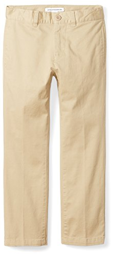 Amazon Essentials Jungen Straight Leg Flat Front Uniform Chino Pant Hose, Khaki, 14H