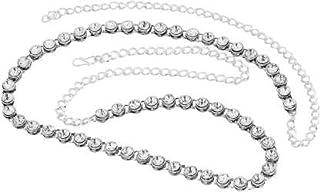 Rockjon Beautifull Women's White Metal- Silver Plated Waist Hip Belt, Kamarband, Belly Belt for Wedding and Party