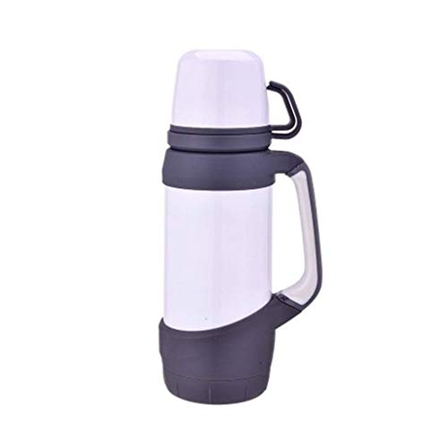 CCBCZ Double Cup Water Bottle Cup with Handle, Stainless Steel Insulated Vacuum Outdoor Large Capacity Thermos 1200 Ml (Color : White)
