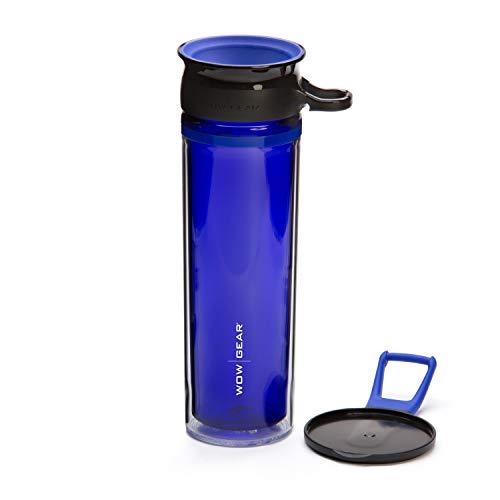 Wow Gear - Botella deportiva tritán de doble pared de 360°, 600 ml, color azul