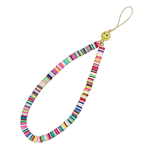XTONG Smiley Face Phone Strap, Fruit Smile Rainbow Color Phone Lanyard Wrist Strap, Beaded Phone Strap 28cm 26#