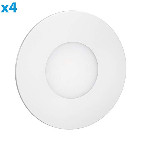ledscom.de LED Treppen-Licht FEX Treppen-Leuchte, weiß, rund, 8,5cm Ø, 230V, warmweiß, 4 Stk.