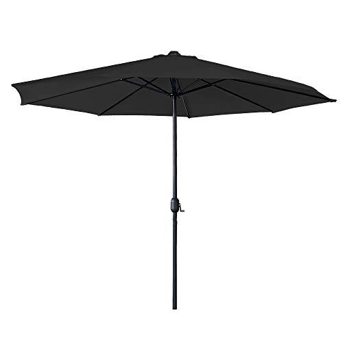 Aufun Sonnenschirm mit Handkurbel Ø350 cm Gartenschirm aus Polyester Sonnenschutz UV-Schutz 40+ Terrassenschirm für Balkon, Terrasse & Garten, Rund, 8 Streben, Dunkelgrau