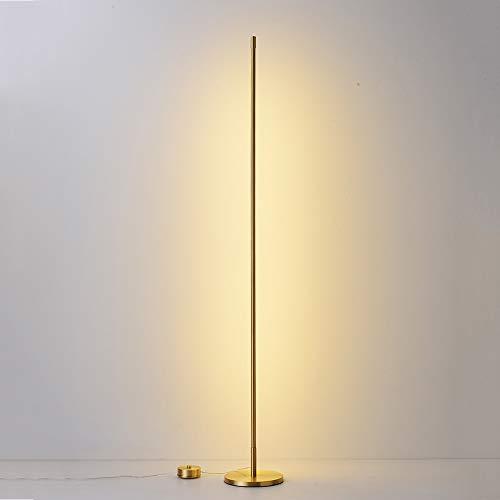 Crayom Lámpara de pie de luz cálida LED Lámpara de Lectura de luz de pie Minimalista Moderna Luz de atmósfera Suave Luz de Piso de Cobre para Sala de Estar Dormitorio Habitación Infantil