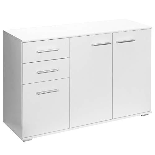 Deuba Kommode Sideboard Weiß Alba mit 2 Schubladen & 3 Türen 107 x 75 x 35 cm Anrichte Beistellschrank Holz