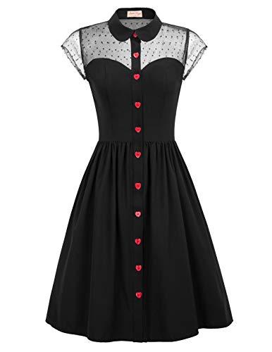 Vintage Dresses for Women with Pockets 1950s Vintage Tea Dress Size M Black
