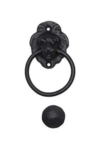 Türklopfer antik, Löwenkopf klein, handgefertigt aus Eisen, schwarz | EW016