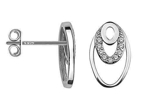 SOFIA MILANI - Damen Ohrringe 925 Silber - mit Zirkonia Steinen - Oval Ohrstecker - 20640