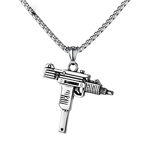 PuuuK Personalidad Retro Uzi Metralleta Pistola Calle Hombres Ametralladora Collar Accesorios De Regalo