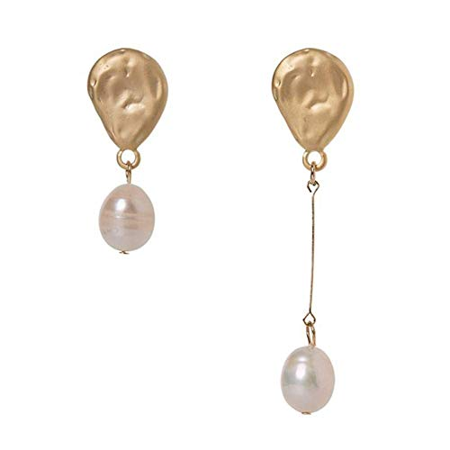 Elegante simplicidad minimalista blanco largo perlas de agua dulce pendientes para mujer boda fiesta regalos asimétricos gota de agua perla pendientes lineales nuevos, N-J, oro
