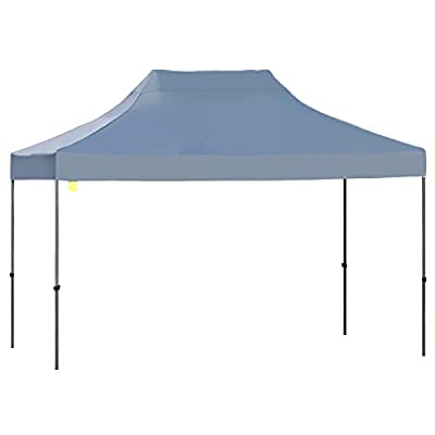 Outsunny 10'x15' Heavy Duty Pop-Up Canopy Tent with Carrying Bag, EZ Instant Commercial Party Canopy Sun Shelter with Adjustable Height, Grey