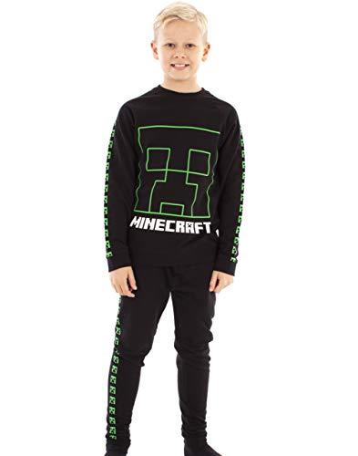 Vanilla Underground Minecraft Trainingsanzug Creeper Boys Schwarz Jogginghose und Sweatshirt Set