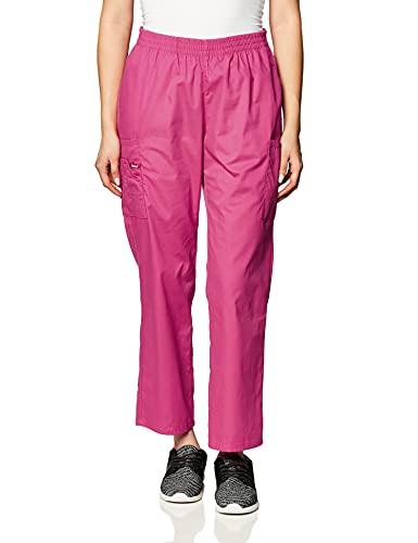 Dickies Women's Signature Elastic Waist Scrubs Pant, Hot Pink, Medium Petite