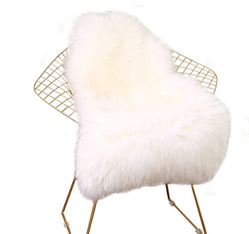 XINYUKEJI Faux Lammfell Schaffell Teppich Flauschig Weiche Nachahmung Wolle Teppich Longhair Fell Optik Gemütliches Schaffell Bettvorleger Sofa Matte (Weiß, 60x 90cm)