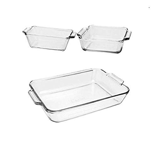 Anchor Hocking Oven Basics 3-Piece Glass Bakeware Set with Square Cake, Rectangular, and Loaf Baking Dishes