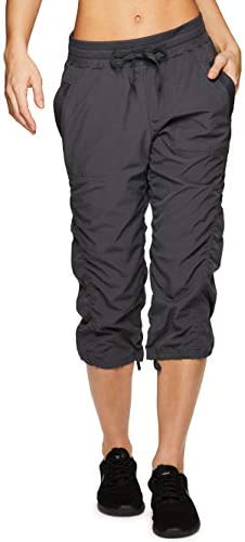 RBX Active Women s Stretch Woven Lightweight Body Skimming Drawstring Capri Pant Charcoal S21 product image