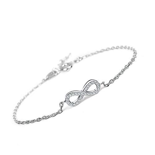 * Beforya Paris * Splendido * Simbolo dell'infinito* con zirconi Swarovski – Bracciale in argento 925 – Meraviglioso braccialetto regalo con scatola portagioie PIN/75