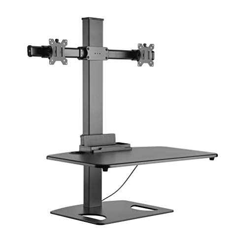 RICOO TS0311, Ergonomische Monitor Tisch-Ständer Tastatur-Halterung 2 Monitore Höhenverstellbar, 17-27 Zoll bis 6-kg je PC Bildschirm-Aufsatz Work-Station