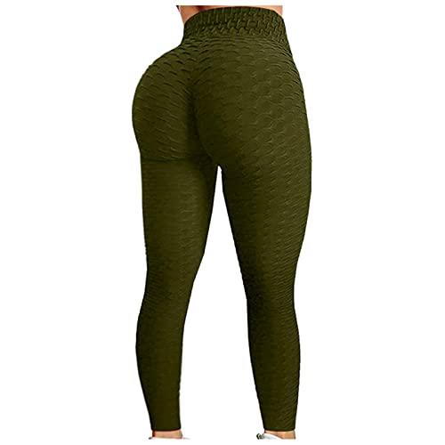 Useqeddjs Leggings de Cintura Alta para Mujer, Pantalones Deportivos Plegables para Gimnasio, Mallas elásticas, Ajustadas, Push Up, Entrenamiento Femenino, Mallas de Yoga para Correr