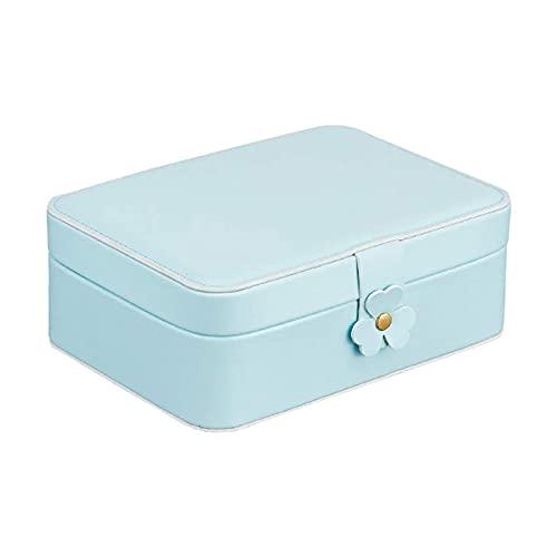 SSHA Joyero Caja de joyería de 2 Capas Caja de joyería de Viaje Portátil Faux de Cuero para Mujer Girls Regalo Organizador de Joyas