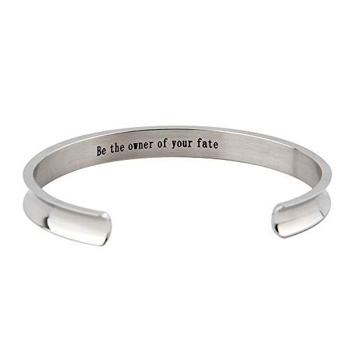 FOR TMT Armband Titan Stahlbogen Gerillt Handschrift Mit Englischer Schrift Seien Sie Der Besitzer Ihres Schicksals Armband