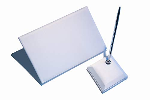 Wedding Guest Book and Pen Set – Elegant Signing Book for Wedding – 74-Page Guestbook Set with Silver Black Ink Pen and Pen Holder – Pure White Satin Sign-in Wedding Book