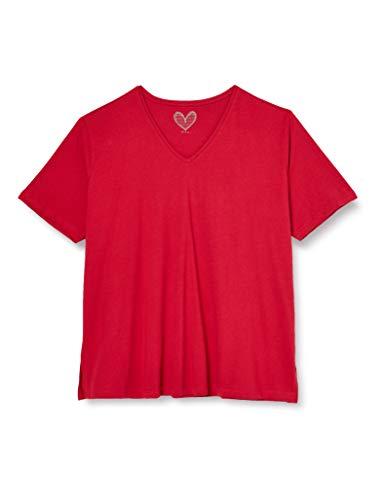 Ulla Popken Damen V-Ausschnitt T-Shirt, Rot (Rot 57), 58/60