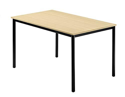 Unbekannt Konferenztisch mit Rund-Rohr schwarz Doran 120 x 80cm Ahorn