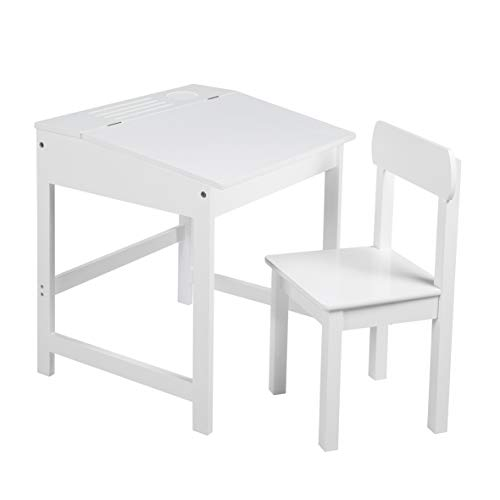 Roba - Atril escolar con silla, mesa de escritorio infantil, juego de silla, soporte con tablero plegable con amortiguadores para niños y niñas, con ranuras fresadas para colocar lápices