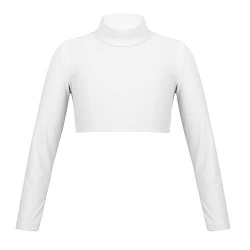 YOOJIA Niñas Camiseta de Manga Larga Cuello Alto Crop Top Deportivo de Danza Gimnasia Fintess Traje Bailarina Ropa de Danza Fiesta 6-14 Años Blanco 12 Años