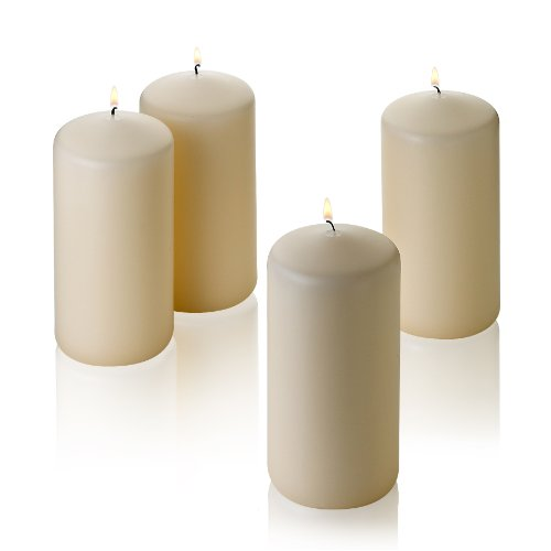 "Light In The Dark French Vanilla Pillar Scented Candles 6"" Tall X 3"" Wide Set of 4"