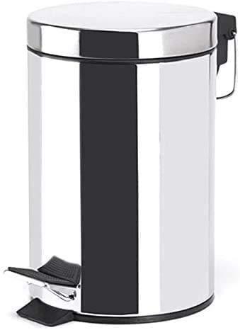 TIENDA EURASIA Cubo de Basura con Pedal de Cocina, Acero Inoxidable, Acabado Cromado Brillante. Disponible en Varios tamaños. Ideal para Cocina, Baño, Salón. (3L)